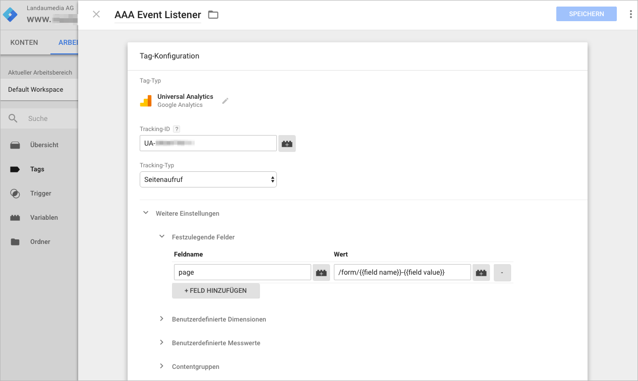 Google Tag Manager Konfiguartionsscreen