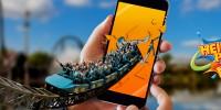 Achterbahn die aus dem Display eines Handy heraus fährt, Logo – Heide Park Resort