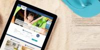 Darstellung der Website Weissenhäuser Strand auf einem Tablet-PC